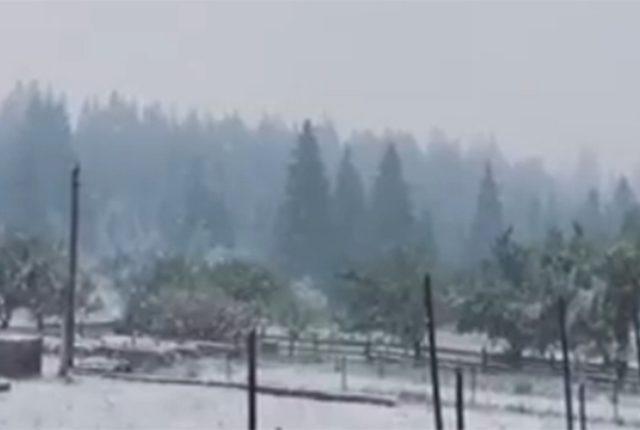 Терміново! В курортному місті Яремчі випав сніг, а потім і град! Подивіться, що там відбувається …